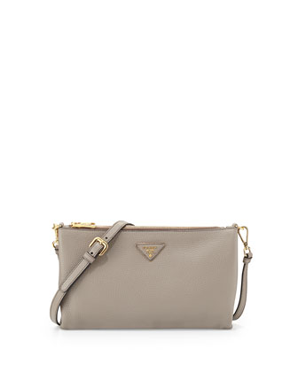 Vitello Daino Flat Zip Crossbody Bag, Gray (Argilla)