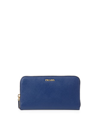 Saffiano Large Zip-Around Continental Wallet, Blue (Bluette)