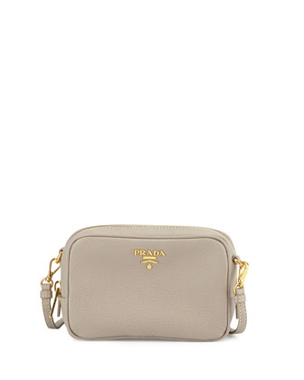 Vitello Mini Zip Crossbody Bag, Light Gray (Pomice)