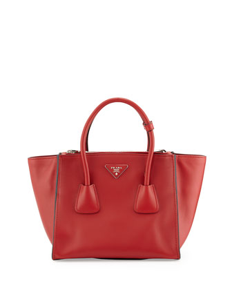 City Calf Twin Pocket Tote Bag, Red (Fuoco)