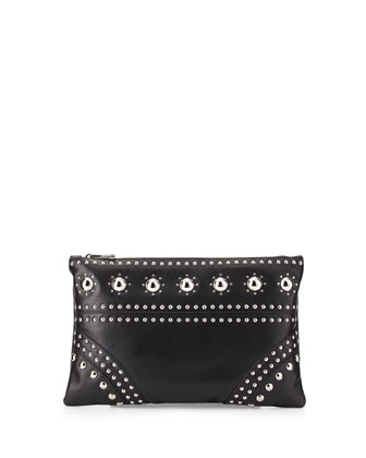 Large Studded Zip Clutch Bag, Black (Nero)