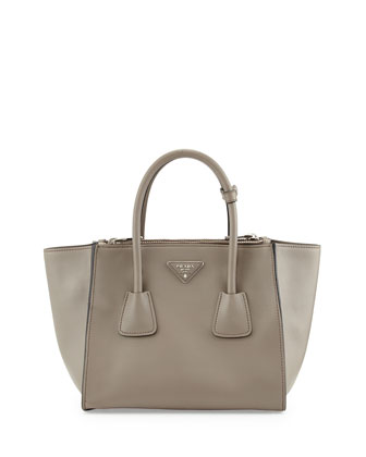 City Calf Twin Pocket Tote Bag, Gray (Argilla)