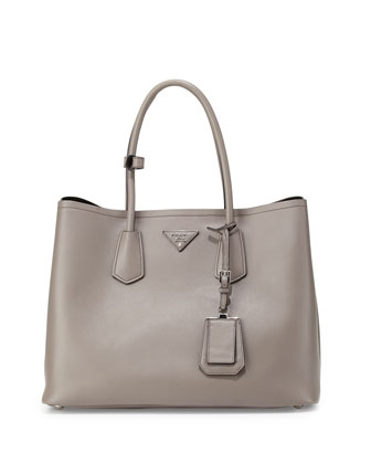 City Calf Double Bag, Gray (Argilla)