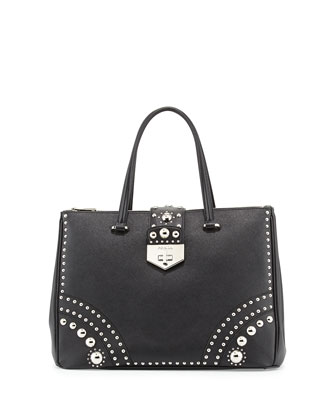 Saffiano Tote Bag with Studs, Black/Silver (Nero)