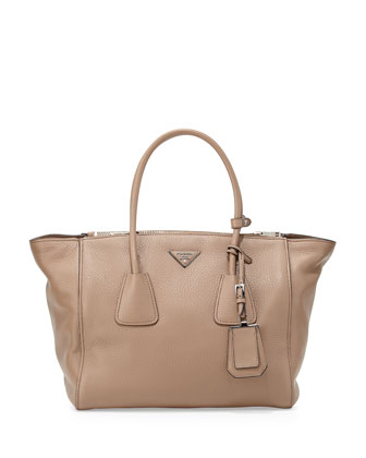 Cervo Large Double-Zip Tote Bag, Light Camel (Visione)