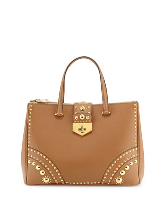 Saffiano Tote Bag with Studs, Caramel/Gold (Caramel)