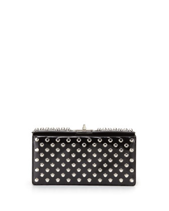 Small Studded Patent Turn-Lock Clutch Bag, Black (Nero)