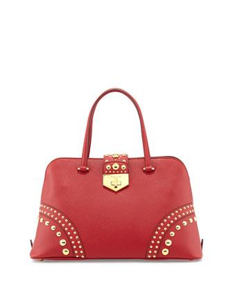 Saffiano Satchel Bag with Studs, Red (Fuoco)