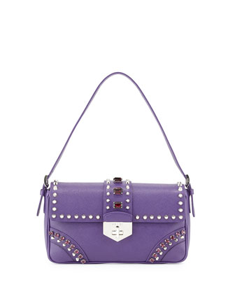 Saffiano Shoulder Bag with Studs and Stones, Purple (Viola)