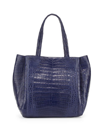Medium Soft Crocodile Gusset Tote Bag, Navy Matte