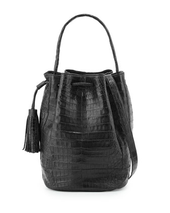 Crocodile Tassel Bucket Bag, Black