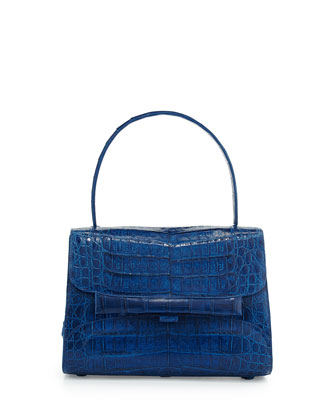 Kelly Medium Crocodile Handbag, Electric Blue