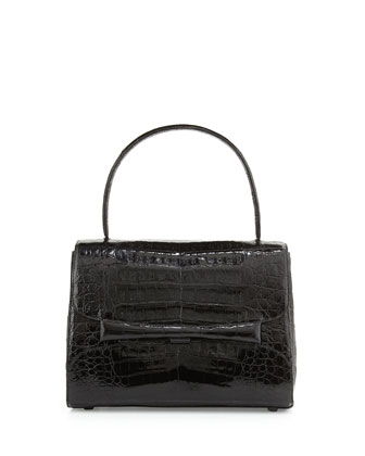 Kelly Medium Crocodile Handbag, Black