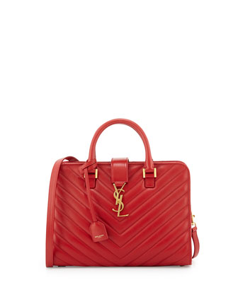 Small Matelasse Monogram Cabas Bag, Lipstick Red