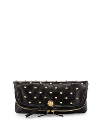 Studded Fold-Over Clutch Bag, Black