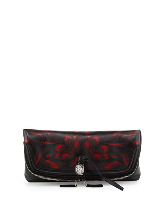 Tulip-Print Fold-Over Clutch Bag, Black