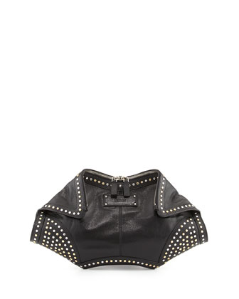 De-Manta Studded Clutch Bag, Black