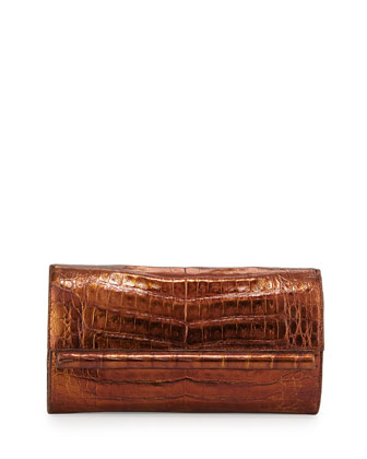 Metallic Crocodile Bar Clutch Bag, Copper