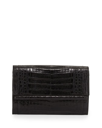 Large Crocodile Bar Clutch Bag, Black Matte
