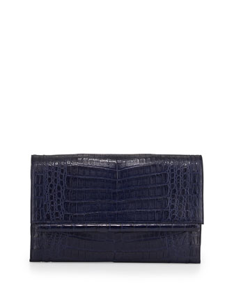Large Crocodile Bar Clutch Bag, Navy Matte