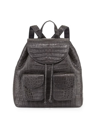 Crocodile Drawstring Backpack, Charcoal