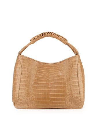 Crocodile Medium Spiral-Wrapped Hobo Bag, Camel Matte