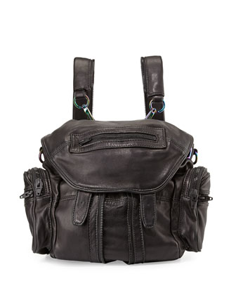 Mini Marti Washed Leather Backpack, Black