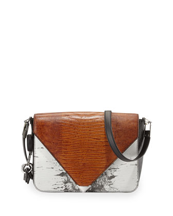 Prisma Lizard-Print Envelope Shoulder Bag, Multicolor