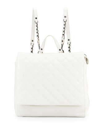 Scarlet Quilted Leather Backpack, White