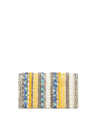 Be Beaded Striped Clutch Bag, Multicolor