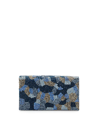 Be Beaded Camo Clutch Bag, Blue