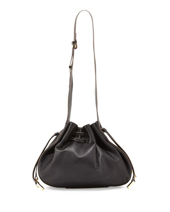 Bianca Large Drawstring Shoulder Bag, Black