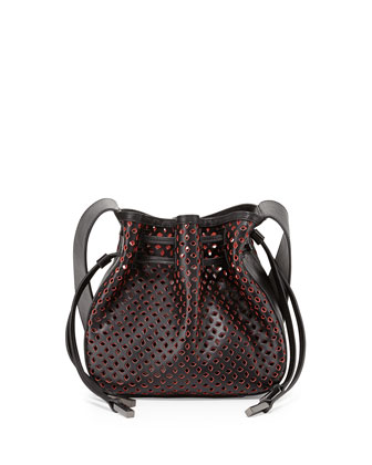 Bianca Medium Perforated Drawstring Crossbody Bag