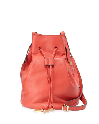 Leather Bucket Bag, Melon