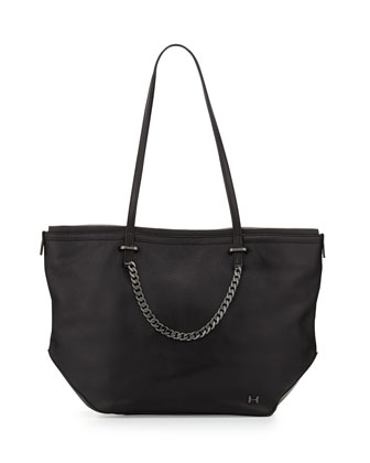 Leather Chain-Strap Tote Bag, Black