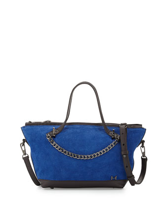 Suede Small Chain Satchel Bag, Cobalt Multi