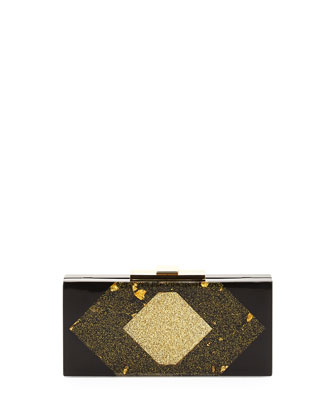 Acrylic Rectangle Minaudiere, Black/Gold