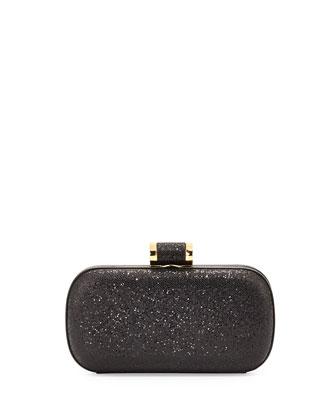 Oblong Glitter Minaudiere, Black