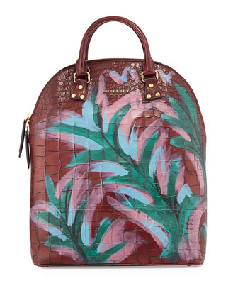 Extra-Large Painted Alligator Tote Bag, Dark Cherry