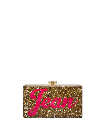 Jean Bespoke Acrylic Clutch Bag, Gold Confetti (Made to Order)