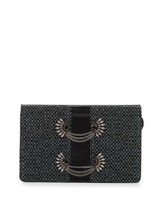 Lenox Brooch-Embellished Raffia Clutch Bag, Black/Blue