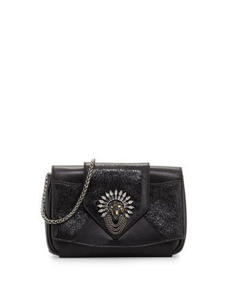 Rocha Clutch w/Crystal Brooch, Black