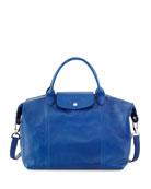 Le Pliage Cuir Leather Handbag, Blue
