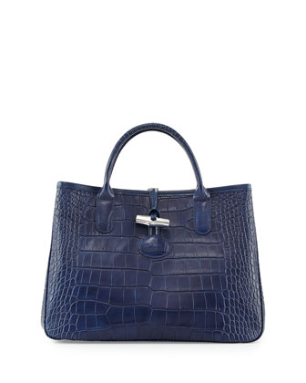 Crocodile-Embossed Small Tote Bag, Navy