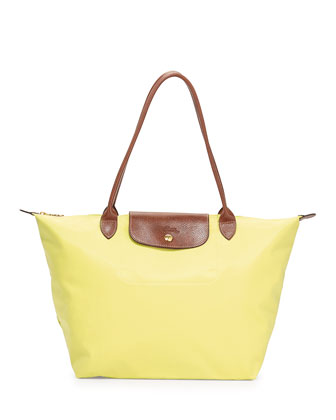 Le Pliage Large Shoulder Tote Bag, Lemon