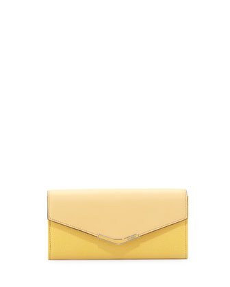 Vitello Elite Continental Flap Wallet, Yellow