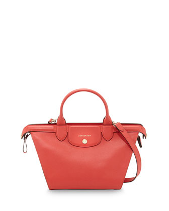 Le Pliage Heritage Saffiano Leather Satchel Bag, Coral