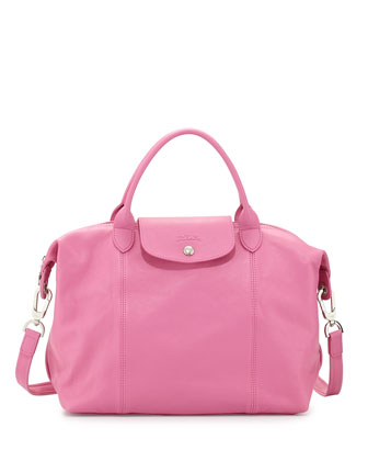 Le Pliage Cuir Handbag with Strap, Bubble