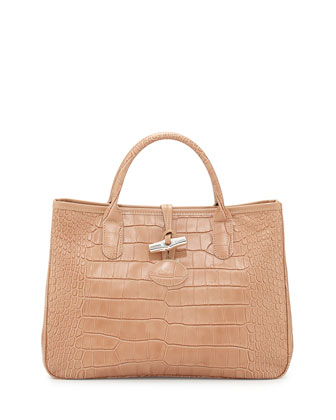 Roseau Crocodile-Embossed Leather Tote, Beige