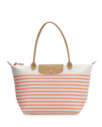 Mariniere Large Striped Tote Bag, Coral Multi